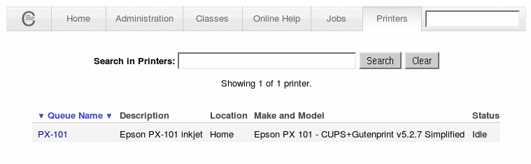 CUPS web interface (Printers page)
