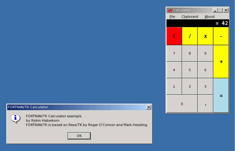 FORTRAN/TK 0.6 Beta Calculator Screenshot (ReactOS :-)
