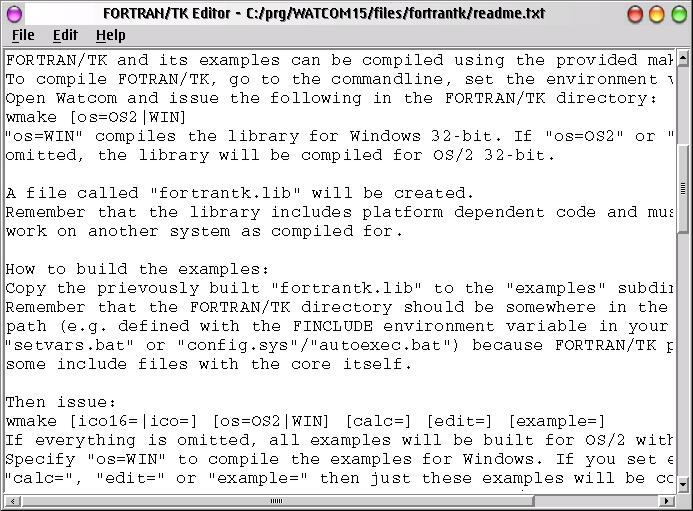 FORTRAN/TK Development Editor example (eComStation)