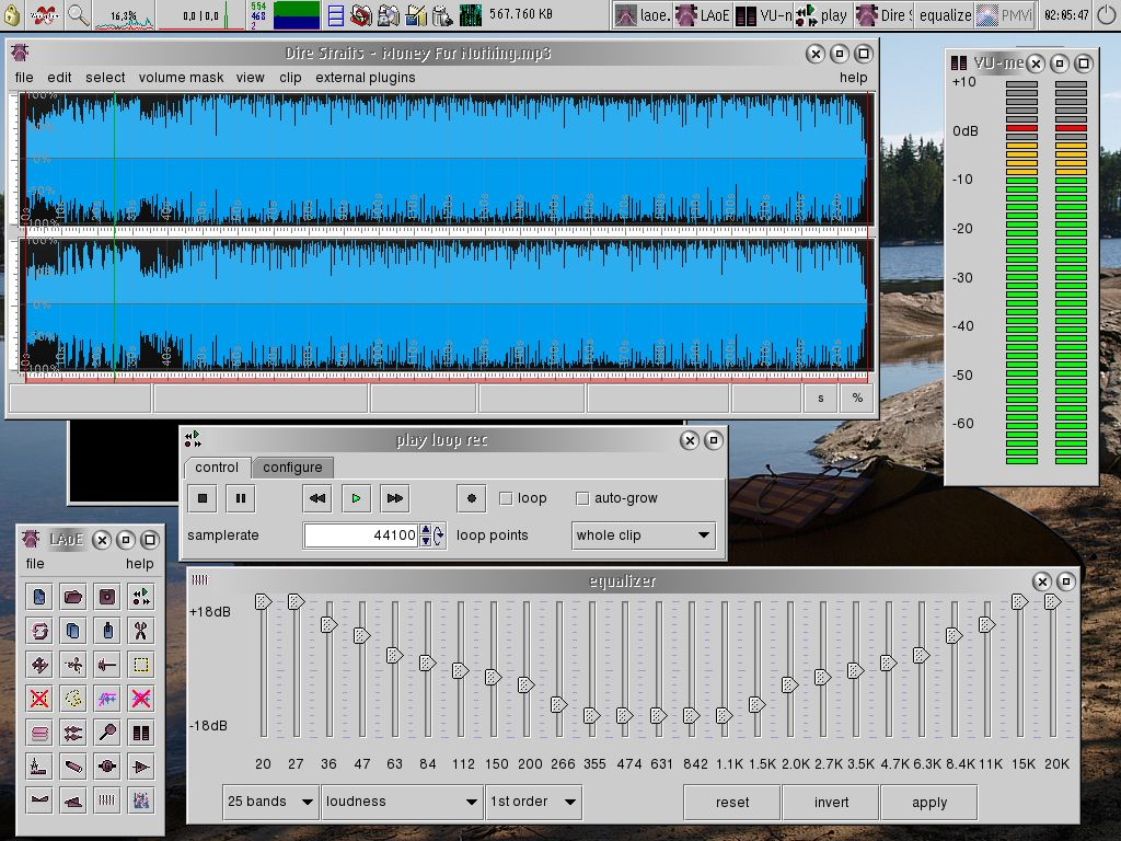 LAoE (Layer-based Audio Editor) version 0.7.06 on eCS