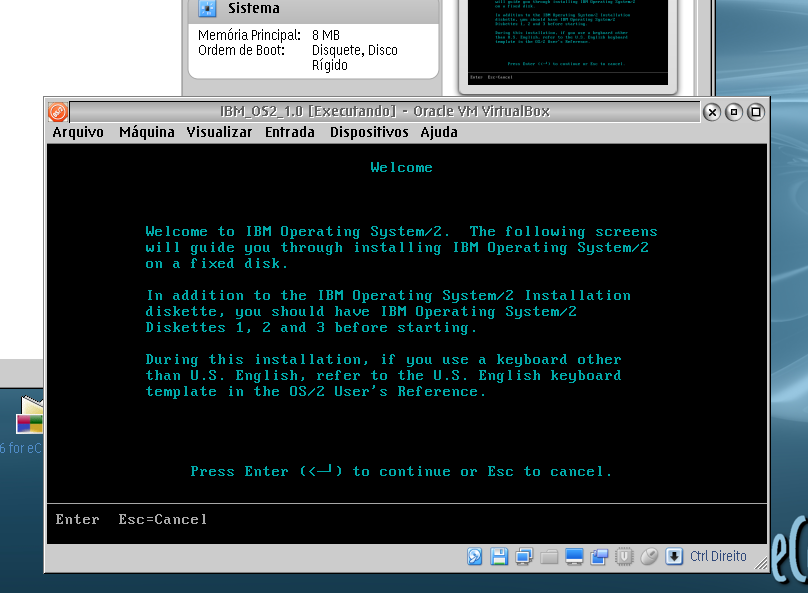IBM OS/2 1.0 Installation