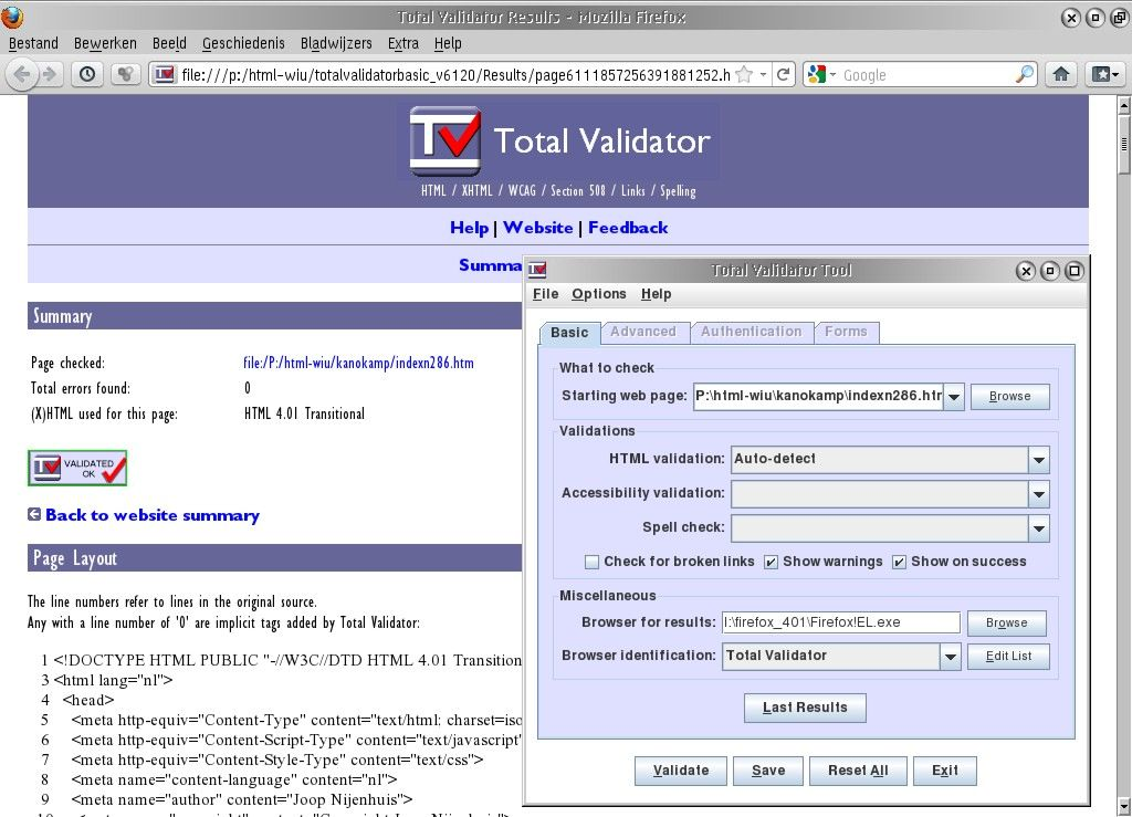 Total Validator version 6.12 basic with results projected in Firefox 4.0.1